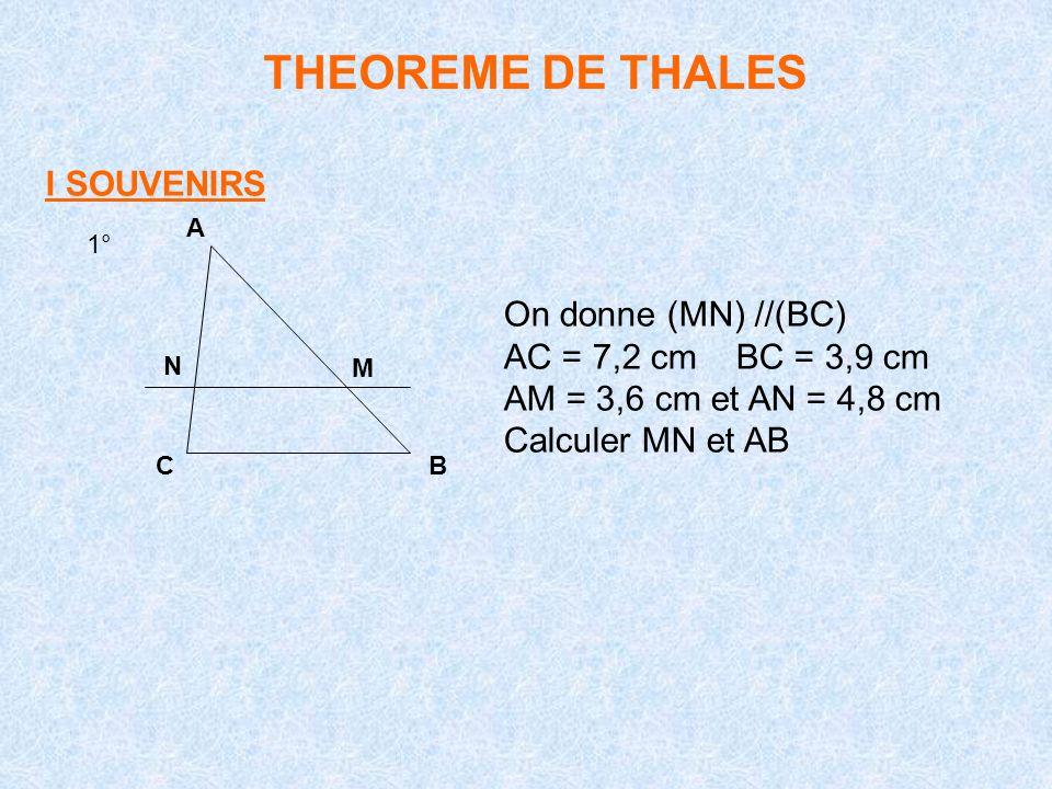 THEOREME DE THALES I SOUVENIRS 1° A BC N M On donne (MN) //(BC) AC = 7,2 cm BC = 3,9 cm AM = 3,6 cm et AN = 4,8 cm Calculer MN et AB