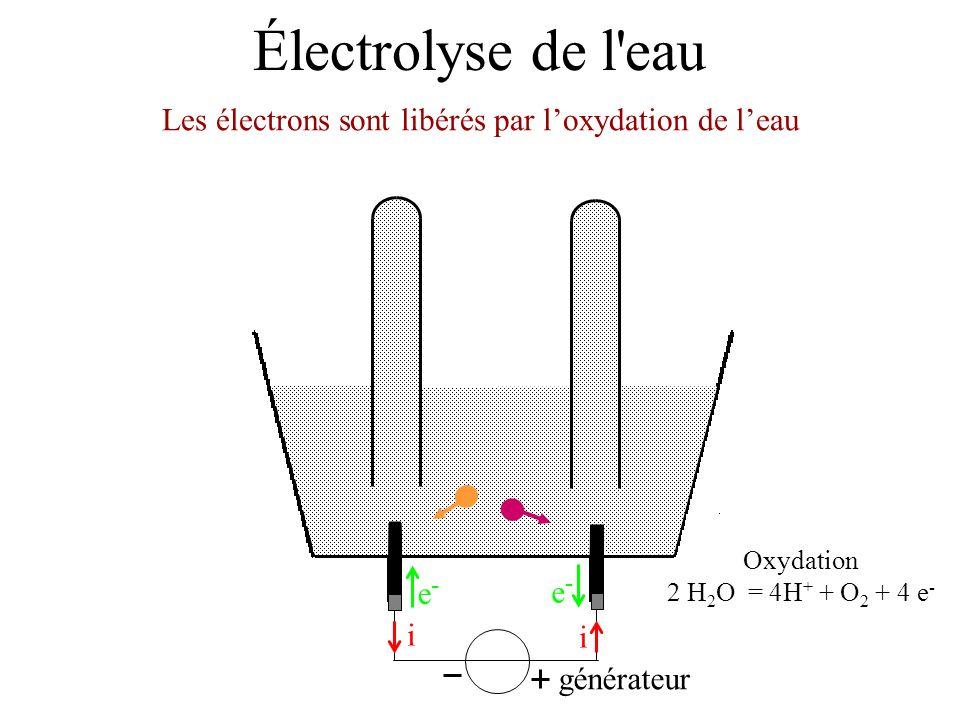 Électrolyse de l'eau Les électrons sont libérés par loxydation de leau générateur i i e-e- e-e- Oxydation 2 H 2 O = 4H + + O 2 + 4 e -