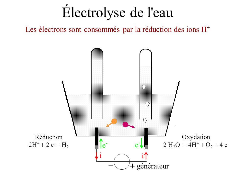 Électrolyse de l'eau Les électrons sont consommés par la réduction des ions H + générateur i i e-e- e-e- Oxydation 2 H 2 O = 4H + + O 2 + 4 e - Réduct