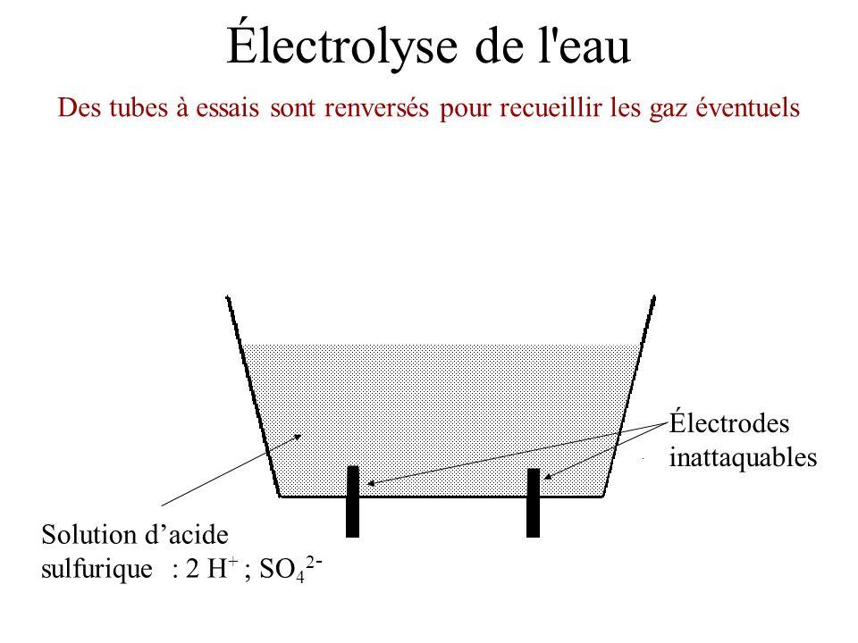 Électrolyse de l'eau Électrodes inattaquables Solution dacide sulfurique : 2 H + ; SO 4 2 - Des tubes à essais sont renversés pour recueillir les gaz