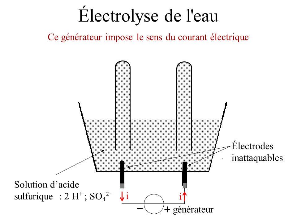 Électrolyse de l'eau Électrodes inattaquables Solution dacide sulfurique : 2 H + ; SO 4 2 - Ce générateur impose le sens du courant électrique générat