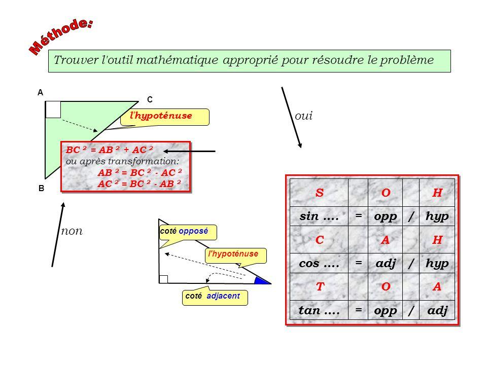 Trouver l'outil mathématique approprié pour résoudre le problème adj/opp=tan …. AOT hyp/adj=cos …. HAC hyp/opp=sin …. HOS coté opposé l'hypoténuse cot