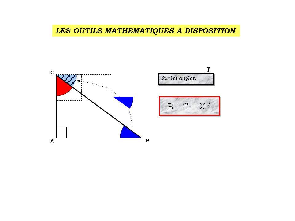 en face de l angle droit c est: l hypoténuse A B C BC 2 AB 2 AC 2 5 2 = 25 3 2 = 9 4 2 = 16 BC 2 = AB 2 + AC 2 ou après transformation: AB 2 = BC 2 - AC 2 AC 2 = BC 2 - AB 2 BC 2 = AB 2 + AC 2 ou après transformation: AB 2 = BC 2 - AC 2 AC 2 = BC 2 - AB 2 Sur les cotés: le théorème de Pythagore Sur les cotés: le théorème de Pythagore 2 25 = 9 + 16 9 = 25 – 16 16 = 25 - 9