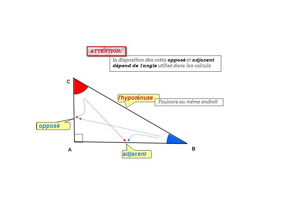 opposé l'hypoténuse adjacent B A C la disposition des cotés opposé et adjacent dépend de l'angle utilisé dans les calculs opposé adjacent ATTENTION: A