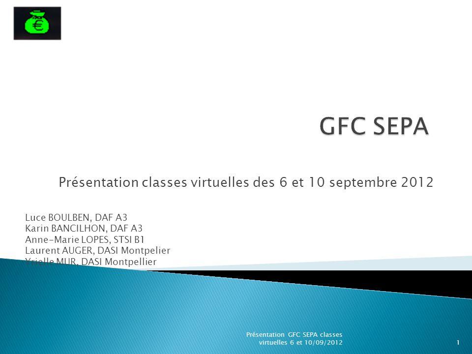 Présentation classes virtuelles des 6 et 10 septembre 2012 Luce BOULBEN, DAF A3 Karin BANCILHON, DAF A3 Anne-Marie LOPES, STSI B1 Laurent AUGER, DASI