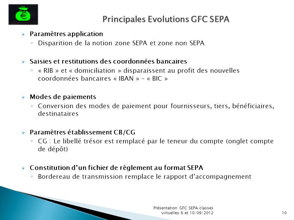 Paramètres application Disparition de la notion zone SEPA et zone non SEPA Saisies et restitutions des coordonnées bancaires « RIB » et « domiciliatio