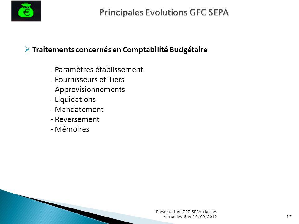 Présentation GFC SEPA classes virtuelles 6 et 10/09/201217 Traitements concernés en Comptabilité Budgétaire - Paramètres établissement - Fournisseurs