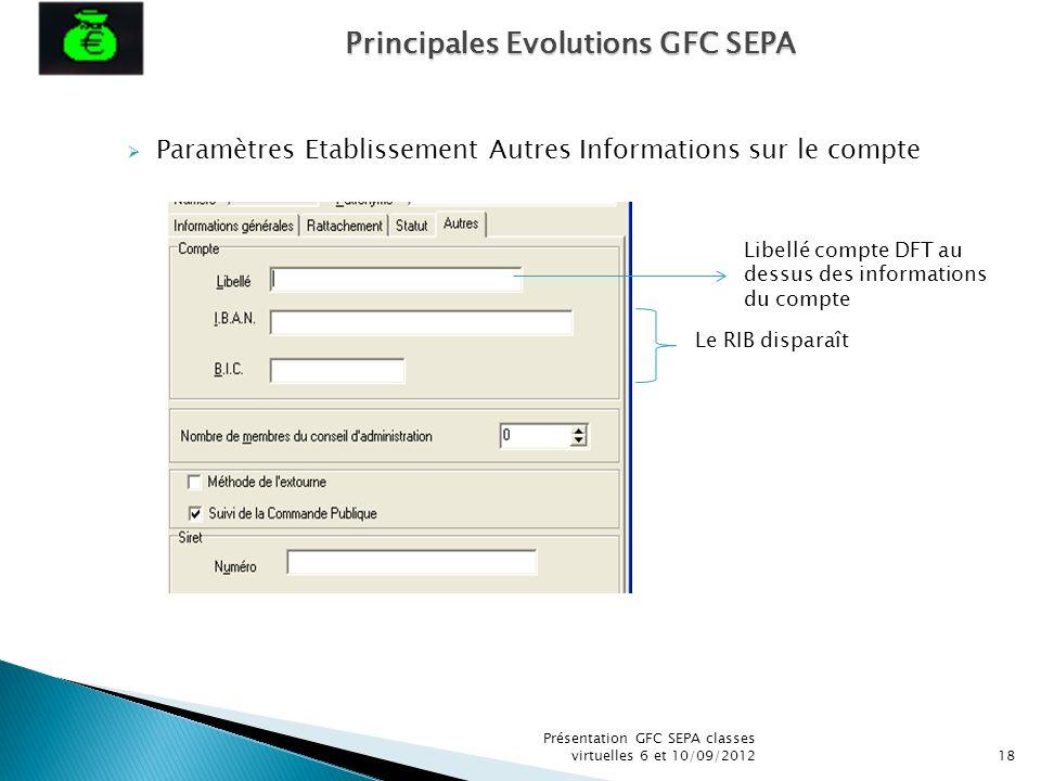 Présentation GFC SEPA classes virtuelles 6 et 10/09/201218 Paramètres Etablissement Autres Informations sur le compte Libellé compte DFT au dessus des