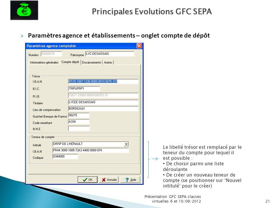 Paramètres agence et établissements – onglet compte de dépôt Présentation GFC SEPA classes virtuelles 6 et 10/09/201221 Le libellé trésor est remplacé