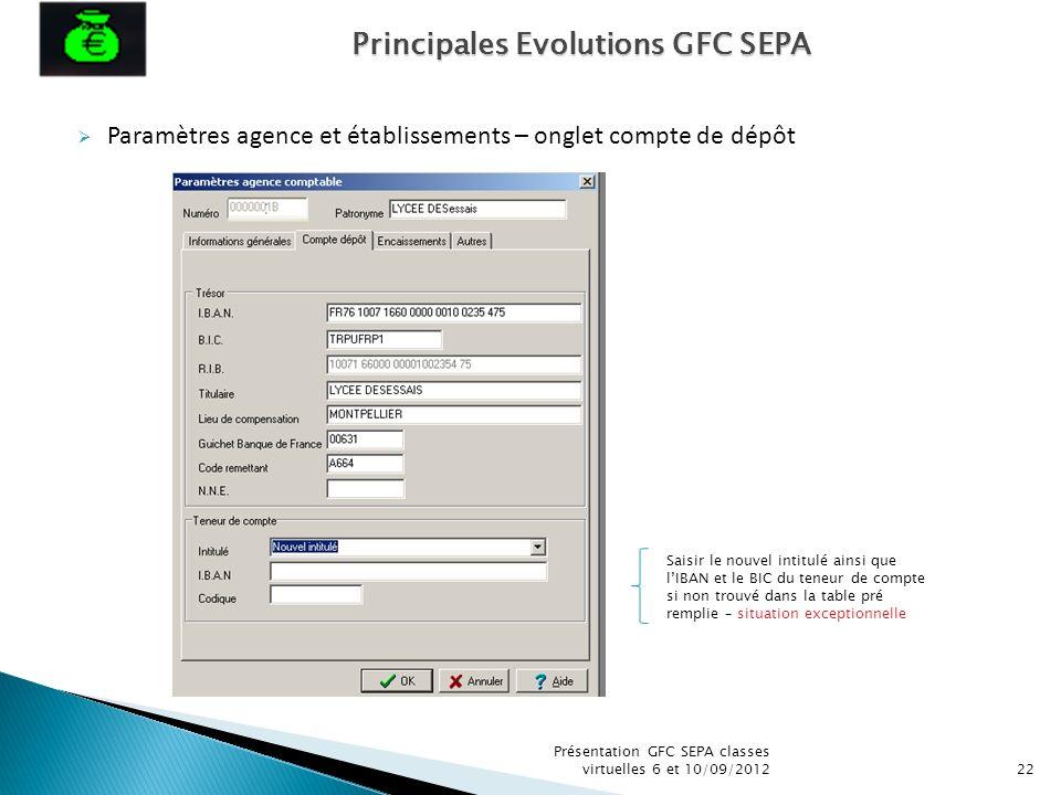 Paramètres agence et établissements – onglet compte de dépôt Présentation GFC SEPA classes virtuelles 6 et 10/09/201222 Saisir le nouvel intitulé ains