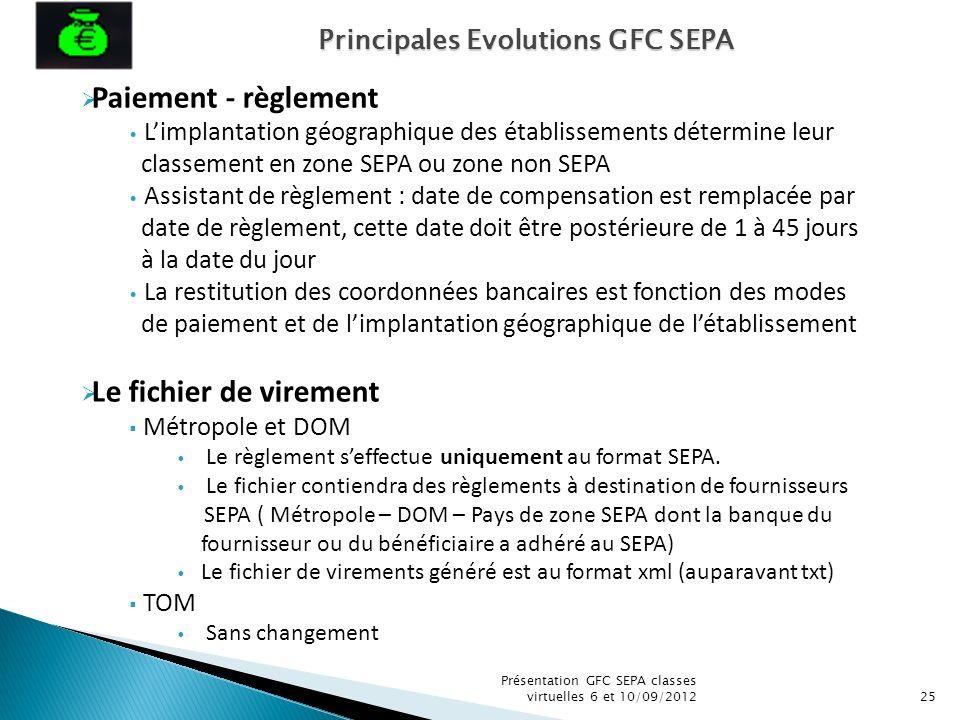 Présentation GFC SEPA classes virtuelles 6 et 10/09/201225 Paiement - règlement Limplantation géographique des établissements détermine leur classemen