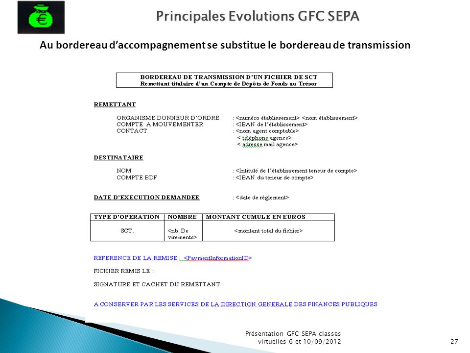 Présentation GFC SEPA classes virtuelles 6 et 10/09/201227 Au bordereau daccompagnement se substitue le bordereau de transmission Principales Evolutio