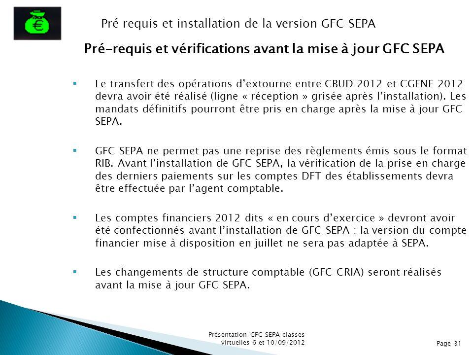 Pré-requis et vérifications avant la mise à jour GFC SEPA Le transfert des opérations dextourne entre CBUD 2012 et CGENE 2012 devra avoir été réalisé