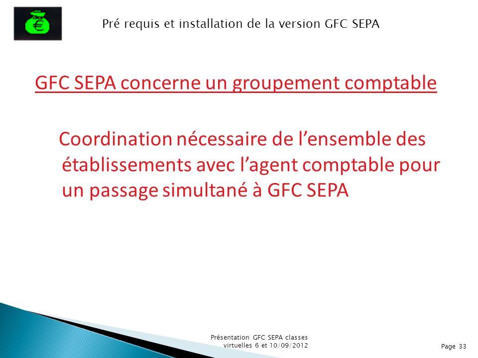 GFC SEPA concerne un groupement comptable Coordination nécessaire de lensemble des établissements avec lagent comptable pour un passage simultané à GF