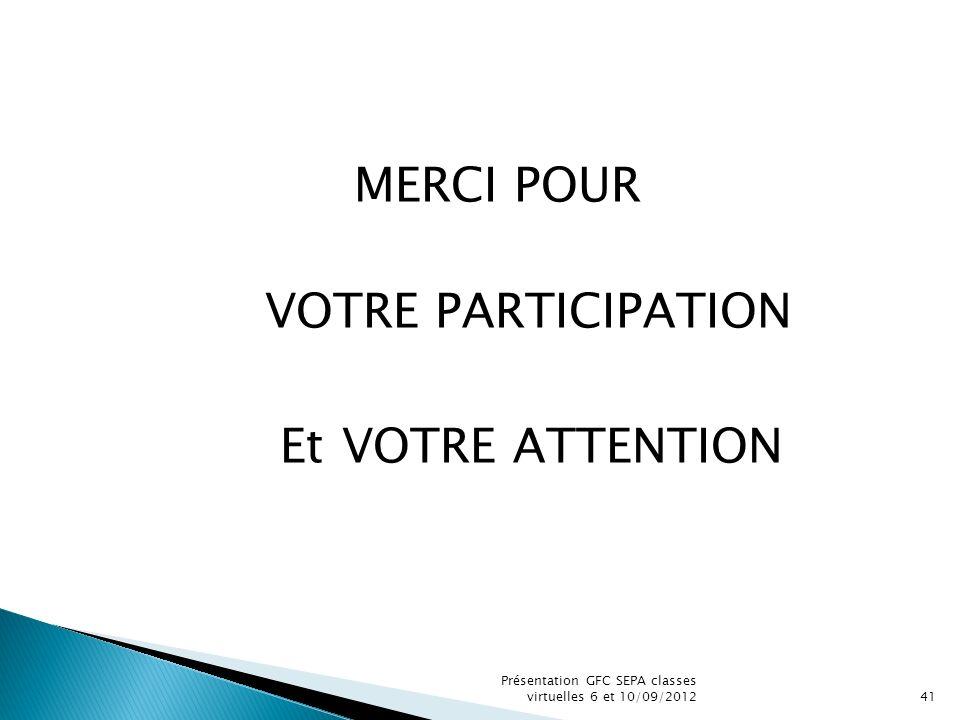Présentation GFC SEPA classes virtuelles 6 et 10/09/201241 MERCI POUR VOTRE PARTICIPATION Et VOTRE ATTENTION