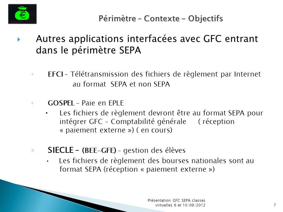 Autres applications interfacées avec GFC entrant dans le périmètre SEPA EFCI – Télétransmission des fichiers de règlement par Internet au format SEPA