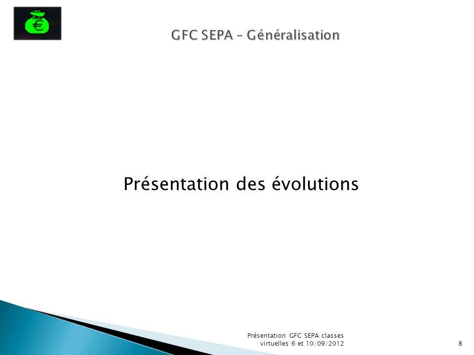 Présentation des évolutions GFC SEPA – Généralisation 8 Présentation GFC SEPA classes virtuelles 6 et 10/09/2012