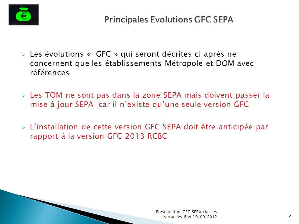 Les évolutions « GFC » qui seront décrites ci après ne concernent que les établissements Métropole et DOM avec références Les TOM ne sont pas dans la