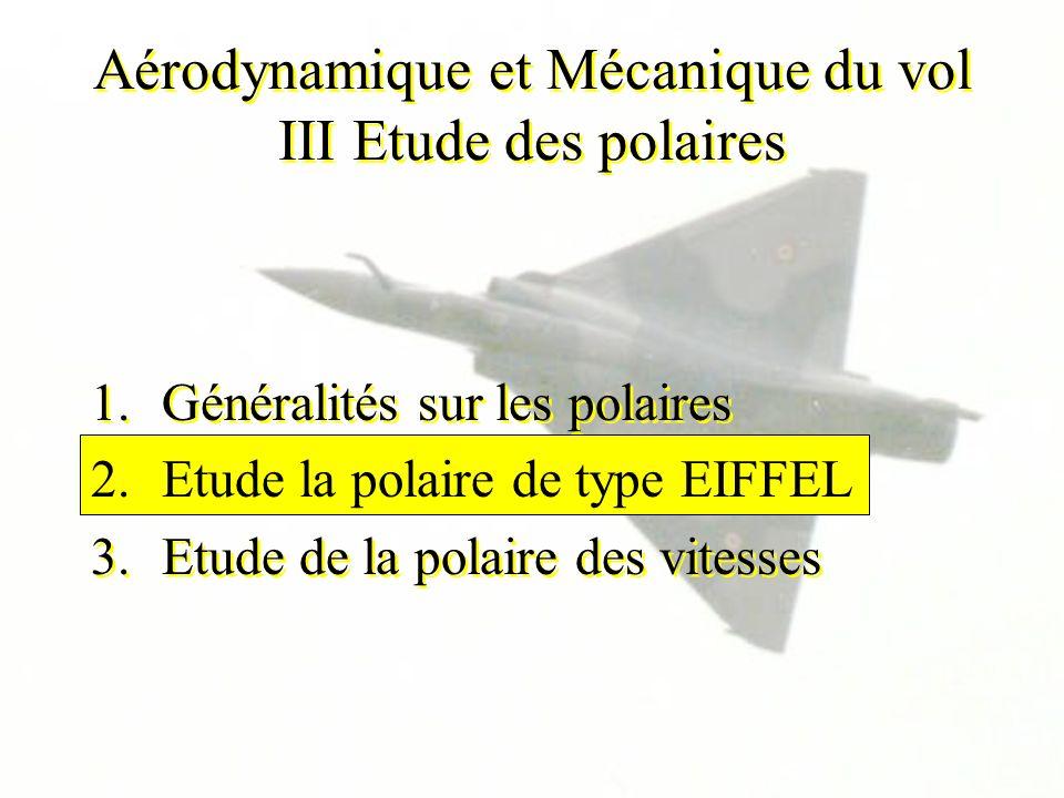 1.Généralités sur les polaires 2.Etude la polaire de type EIFFEL 3.Etude de la polaire des vitesses 1.Généralités sur les polaires 2.Etude la polaire