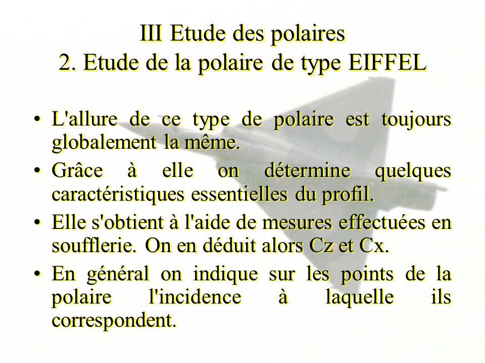 III Etude des polaires 2. Etude de la polaire de type EIFFEL L'allure de ce type de polaire est toujours globalement la même. Grâce à elle on détermin