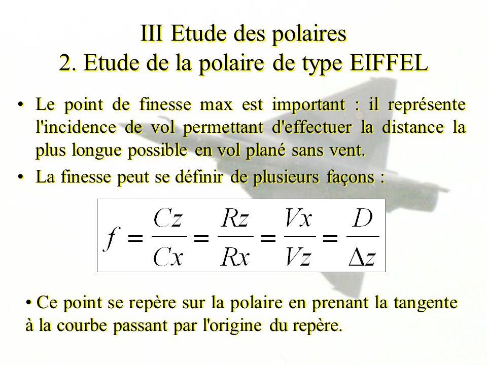 III Etude des polaires 2. Etude de la polaire de type EIFFEL Le point de finesse max est important : il représente l'incidence de vol permettant d'eff