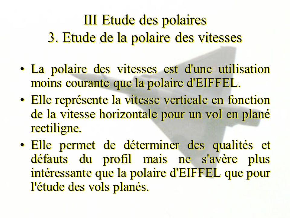 III Etude des polaires 3. Etude de la polaire des vitesses La polaire des vitesses est d'une utilisation moins courante que la polaire d'EIFFEL. Elle
