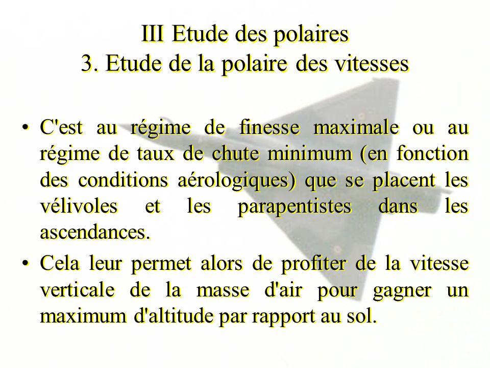III Etude des polaires 3. Etude de la polaire des vitesses C'est au régime de finesse maximale ou au régime de taux de chute minimum (en fonction des