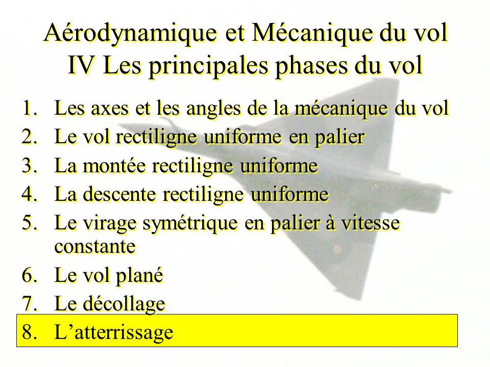 1.Les axes et les angles de la mécanique du vol 2.Le vol rectiligne uniforme en palier 3.La montée rectiligne uniforme 4.La descente rectiligne unifor