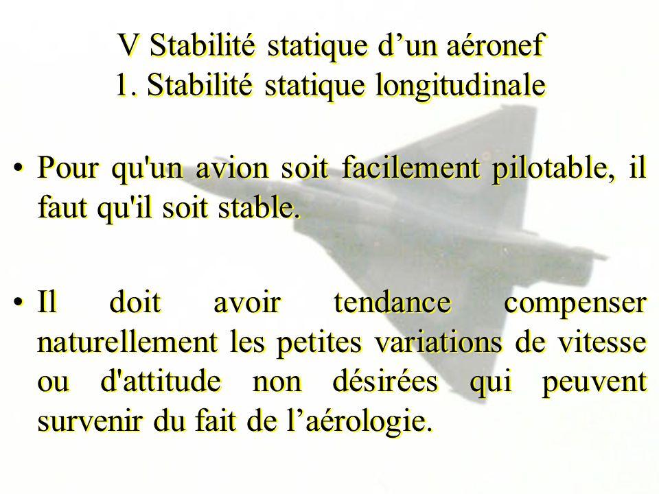 V Stabilité statique dun aéronef 1. Stabilité statique longitudinale Pour qu'un avion soit facilement pilotable, il faut qu'il soit stable. Il doit av