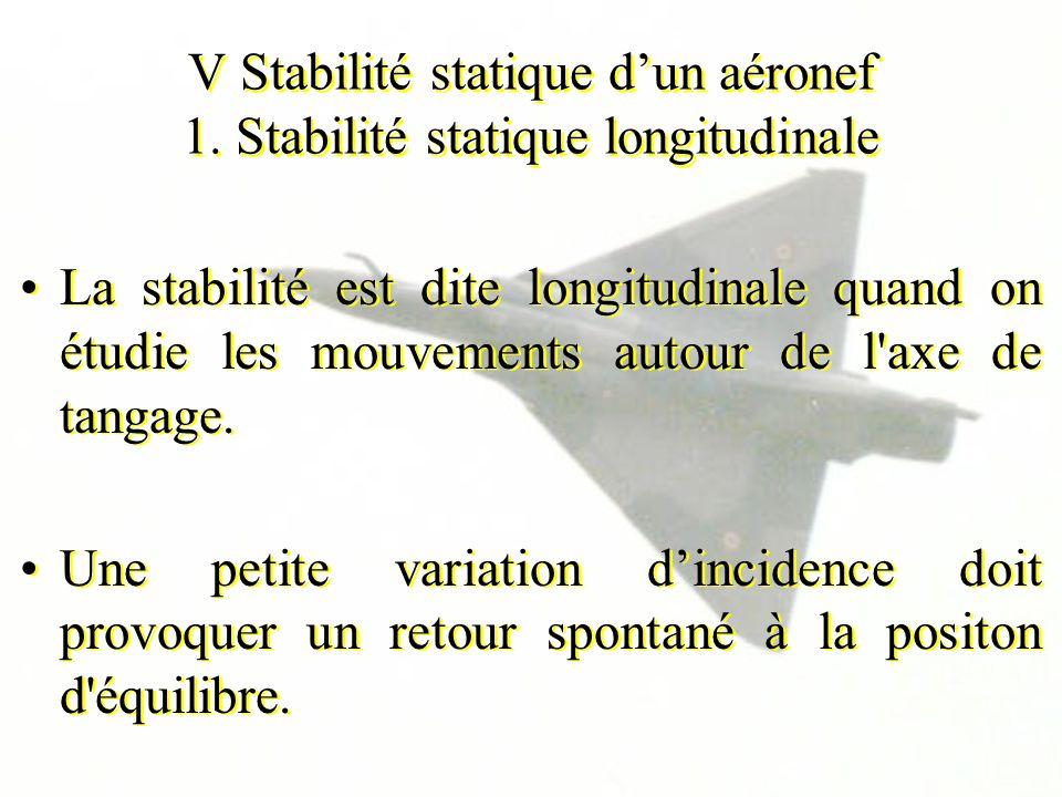 V Stabilité statique dun aéronef 1. Stabilité statique longitudinale La stabilité est dite longitudinale quand on étudie les mouvements autour de l'ax