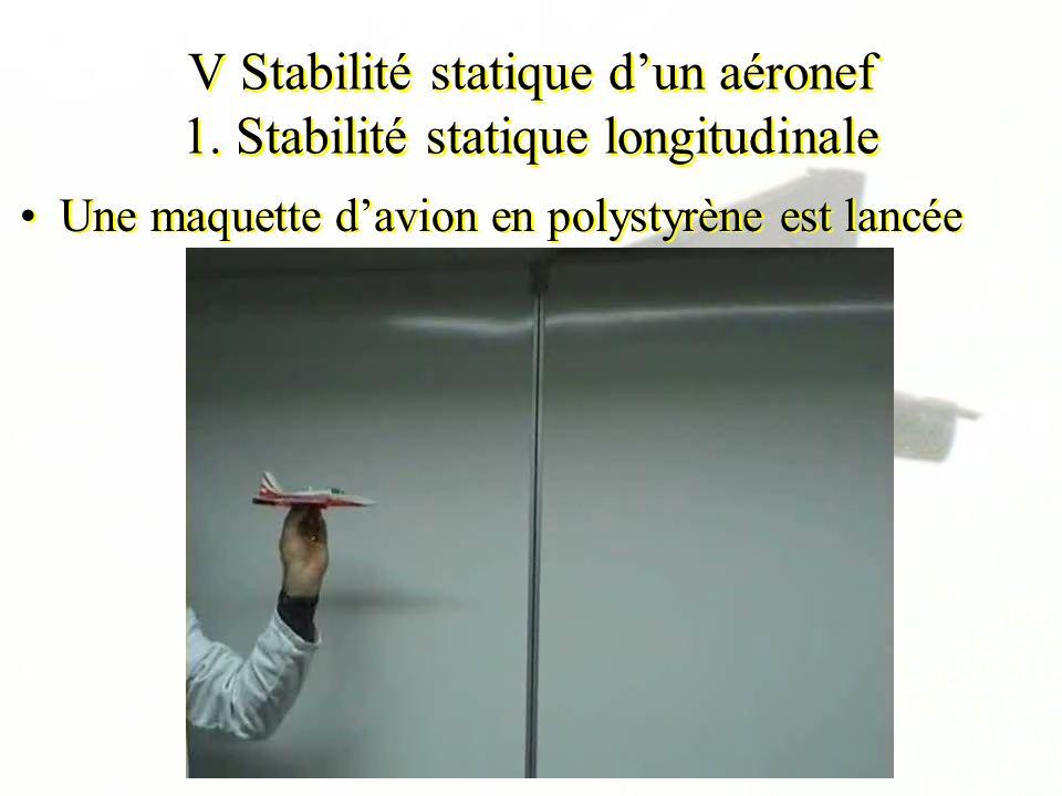 V Stabilité statique dun aéronef 1. Stabilité statique longitudinale Une maquette davion en polystyrène est lancée
