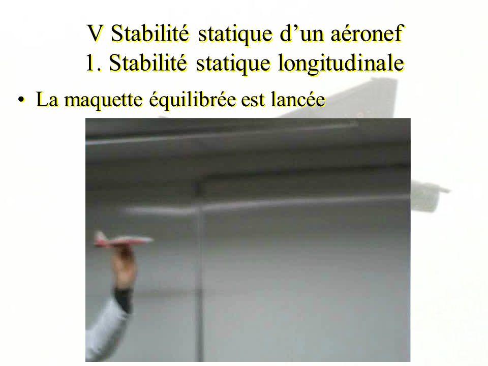 V Stabilité statique dun aéronef 1. Stabilité statique longitudinale La maquette équilibrée est lancée