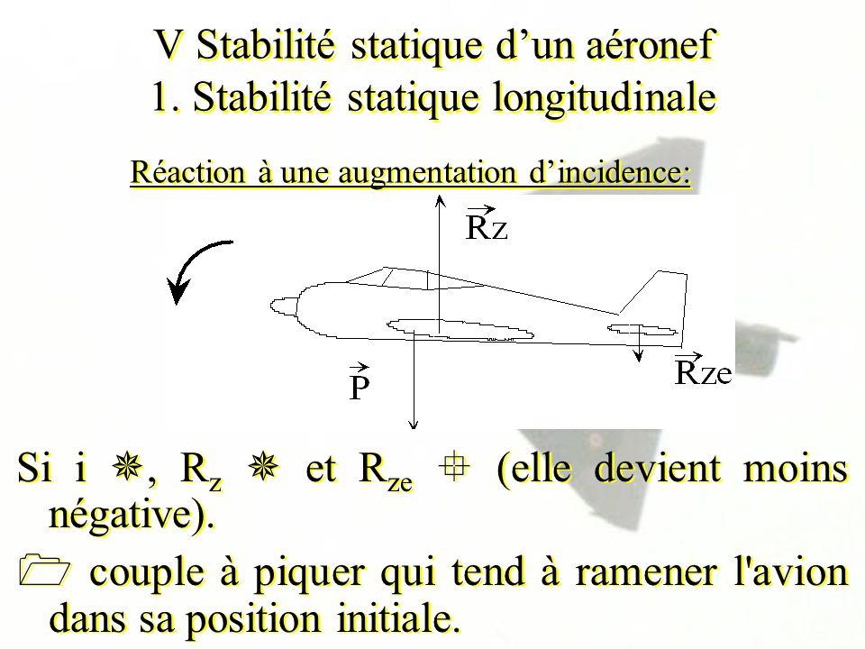 V Stabilité statique dun aéronef 1. Stabilité statique longitudinale Si i, R z et R ze (elle devient moins négative). couple à piquer qui tend à ramen