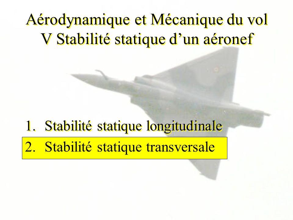 1.Stabilité statique longitudinale 2.Stabilité statique transversale 1.Stabilité statique longitudinale 2.Stabilité statique transversale Aérodynamiqu