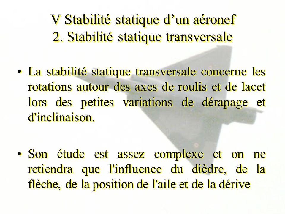 V Stabilité statique dun aéronef 2. Stabilité statique transversale La stabilité statique transversale concerne les rotations autour des axes de rouli