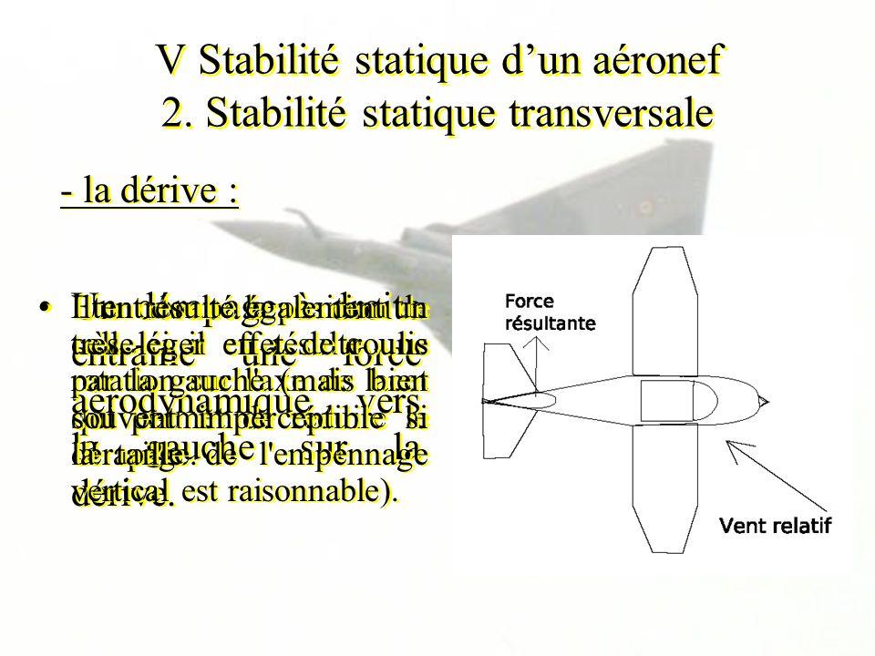 V Stabilité statique dun aéronef 2. Stabilité statique transversale Un dérapage à droite entraîne une force aérodynamique vers la gauche sur la dérive