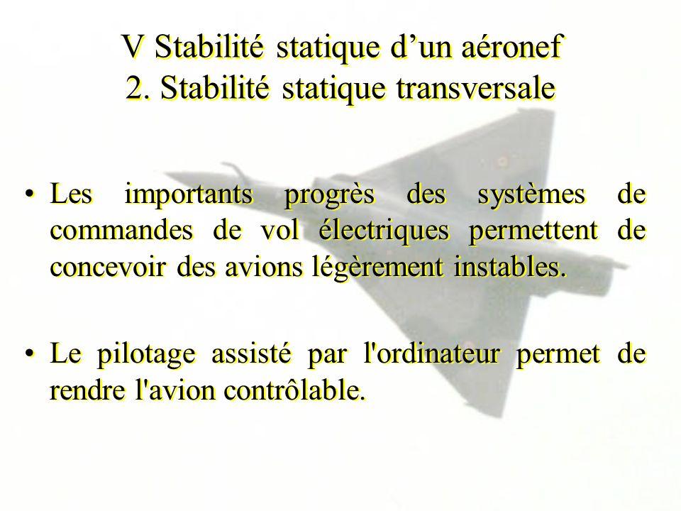 V Stabilité statique dun aéronef 2. Stabilité statique transversale Les importants progrès des systèmes de commandes de vol électriques permettent de