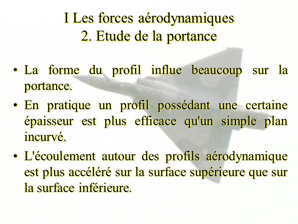 I Les forces aérodynamiques 2. Etude de la portance La forme du profil influe beaucoup sur la portance. En pratique un profil possédant une certaine é