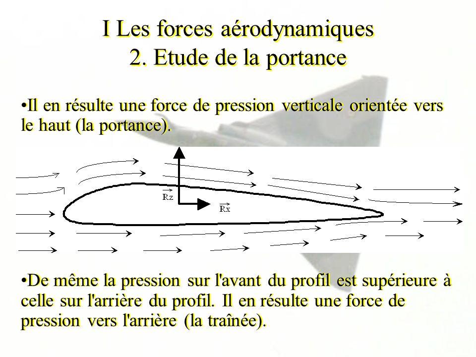 I Les forces aérodynamiques 2. Etude de la portance Il en résulte une force de pression verticale orientée vers le haut (la portance). De même la pres