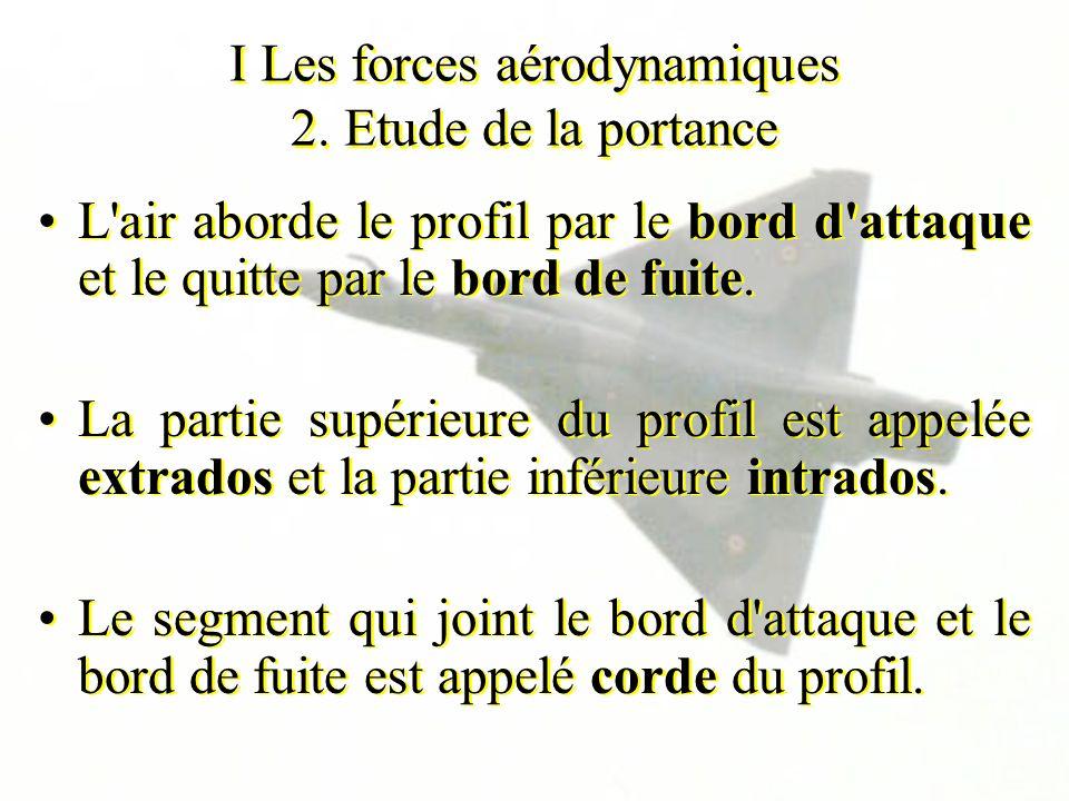 I Les forces aérodynamiques 2. Etude de la portance L'air aborde le profil par le bord d'attaque et le quitte par le bord de fuite. La partie supérieu