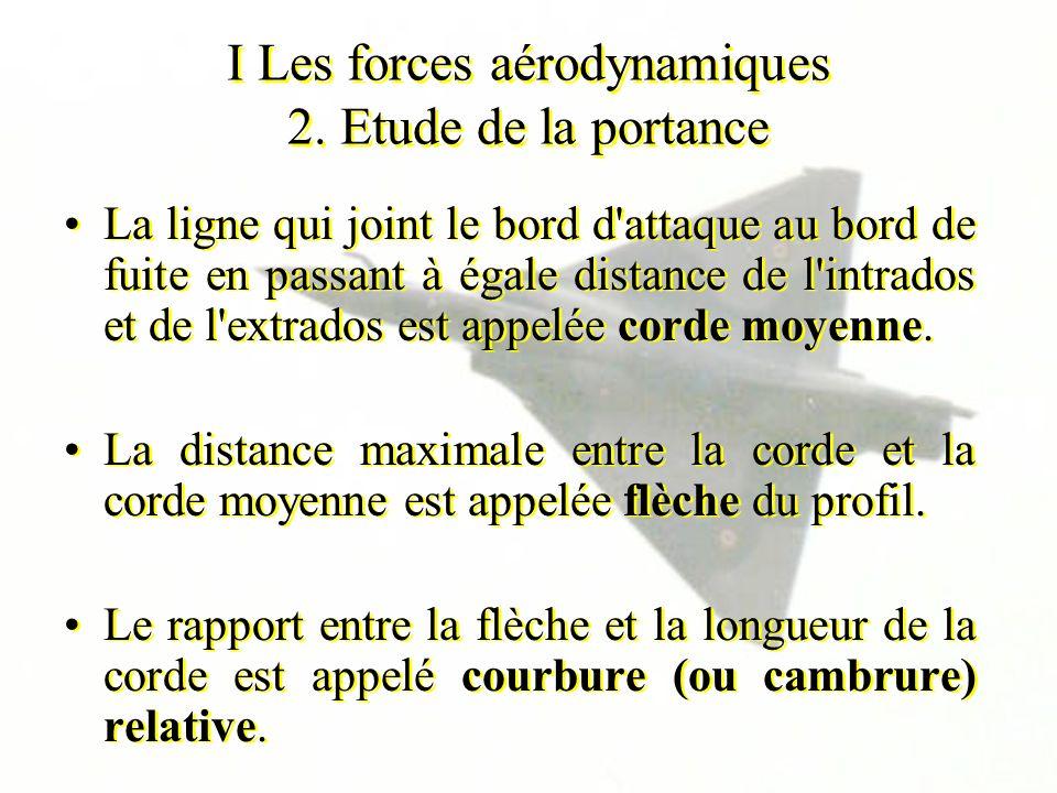 I Les forces aérodynamiques 2. Etude de la portance La ligne qui joint le bord d'attaque au bord de fuite en passant à égale distance de l'intrados et