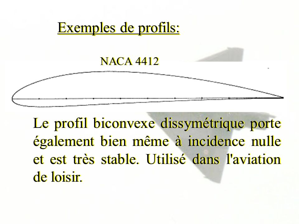 Exemples de profils: Le profil biconvexe dissymétrique porte également bien même à incidence nulle et est très stable. Utilisé dans l'aviation de lois