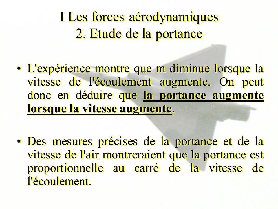 I Les forces aérodynamiques 2. Etude de la portance L'expérience montre que m diminue lorsque la vitesse de l'écoulement augmente. On peut donc en déd