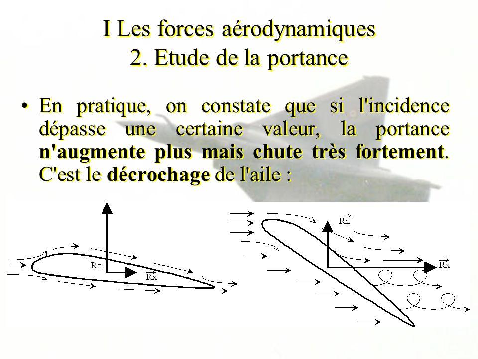 I Les forces aérodynamiques 2. Etude de la portance En pratique, on constate que si l'incidence dépasse une certaine valeur, la portance n'augmente pl