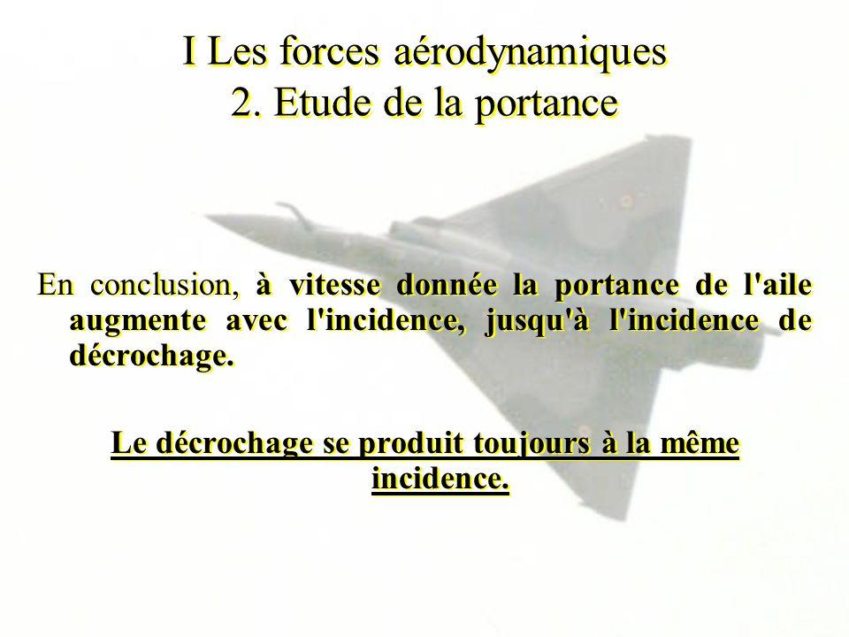 I Les forces aérodynamiques 2. Etude de la portance En conclusion, à vitesse donnée la portance de l'aile augmente avec l'incidence, jusqu'à l'inciden