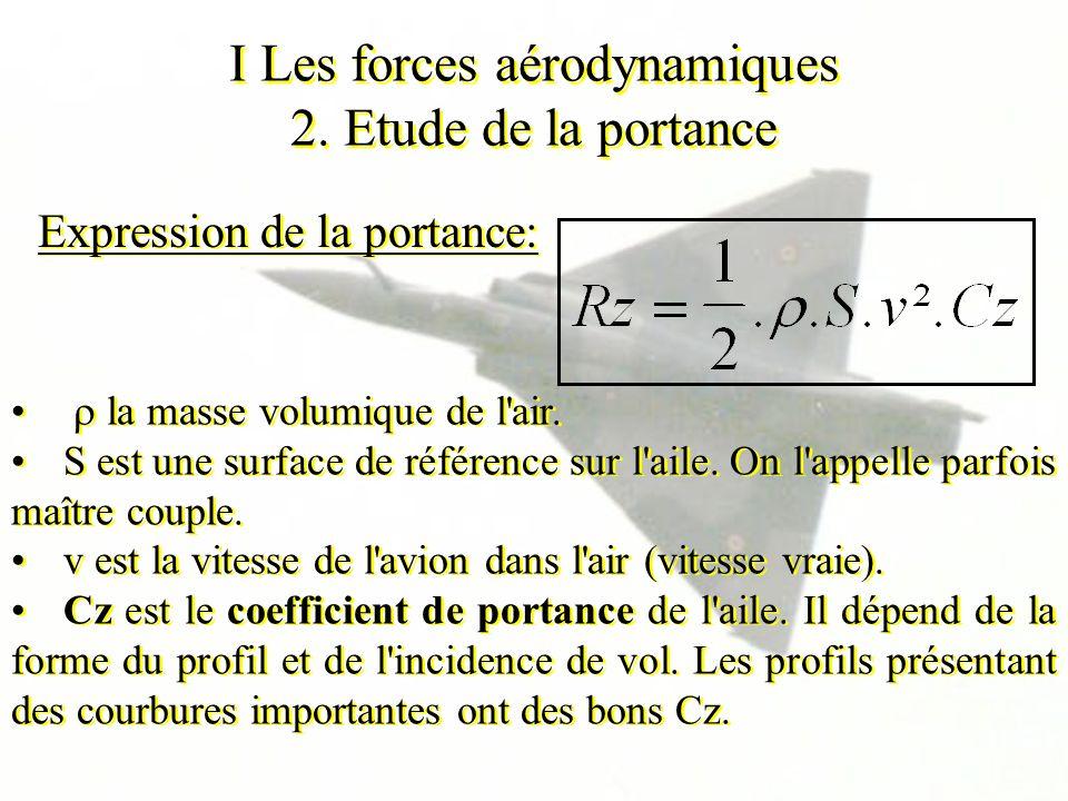I Les forces aérodynamiques 2. Etude de la portance Expression de la portance: la masse volumique de l'air. S est une surface de référence sur l'aile.