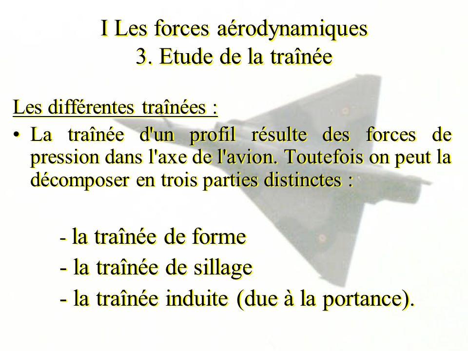 I Les forces aérodynamiques 3. Etude de la traînée Les différentes traînées : La traînée d'un profil résulte des forces de pression dans l'axe de l'av