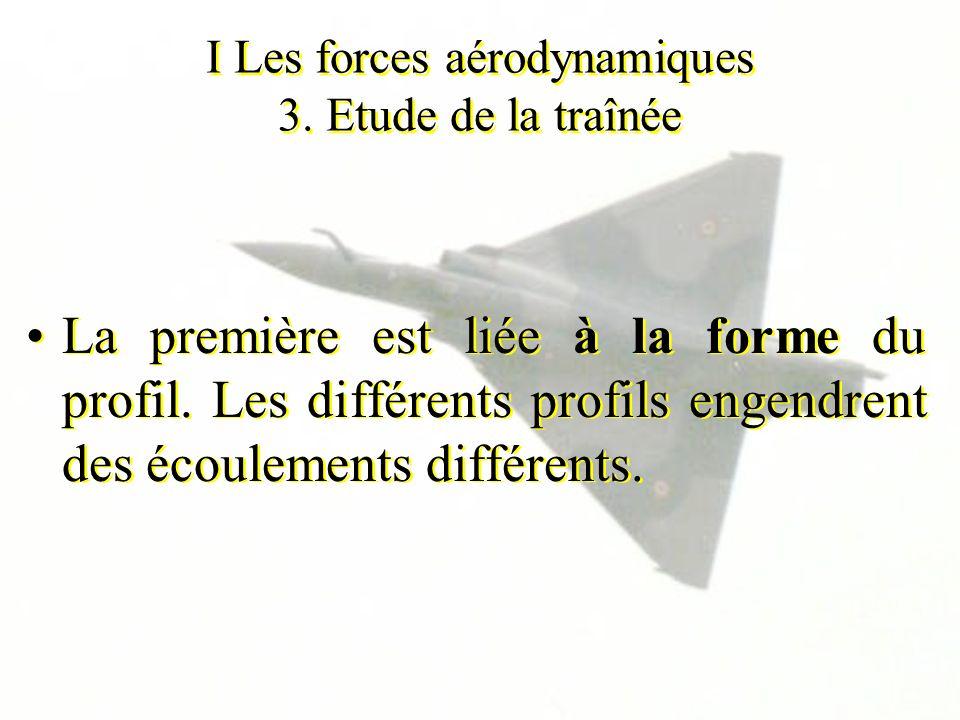 I Les forces aérodynamiques 3. Etude de la traînée La première est liée à la forme du profil. Les différents profils engendrent des écoulements différ