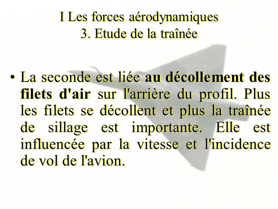 I Les forces aérodynamiques 3. Etude de la traînée La seconde est liée au décollement des filets d'air sur l'arrière du profil. Plus les filets se déc