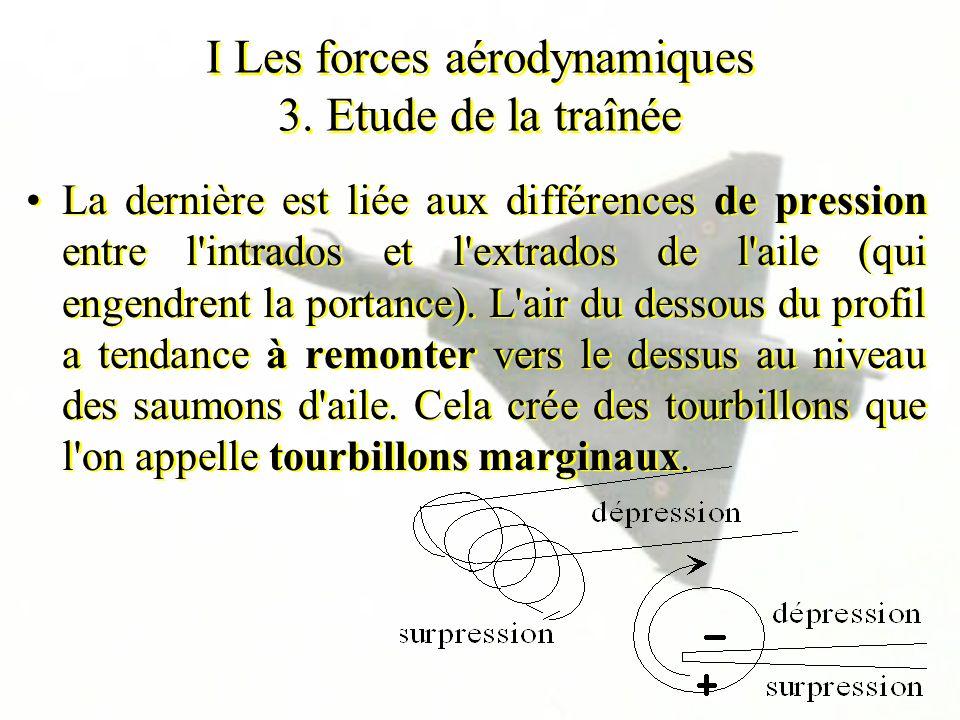 I Les forces aérodynamiques 3. Etude de la traînée La dernière est liée aux différences de pression entre l'intrados et l'extrados de l'aile (qui enge